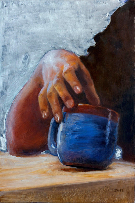 "Pondering Another Cup, Oil on Aluminum Panel 6""x9"""