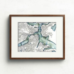 Boston Map Art Print & Card Uni-T