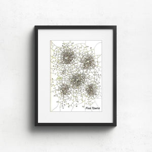 Five Towns, Imaginary Map Art Prints Uni-T