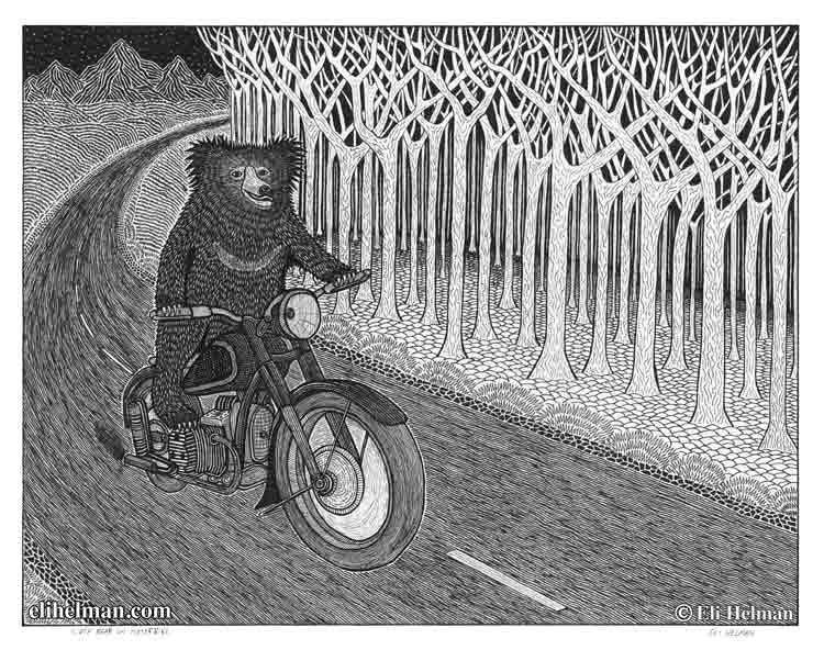Sloth Bear on Motor Bike | Hog on a Harley | Snow Tramp | 8X10 Art Prints Uni-T