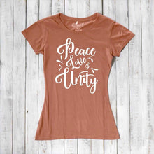 Peace Love Unity T shirt, Women's T-shirt, Bamboo Tee, Organic Cotton