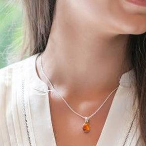 Amber Sterling Silver Pendant Necklace Tear Drop Small Uni-T