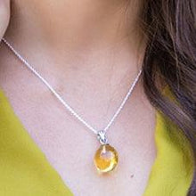 Amber Sterling Silver Pendant Necklace Drop Large Uni-T