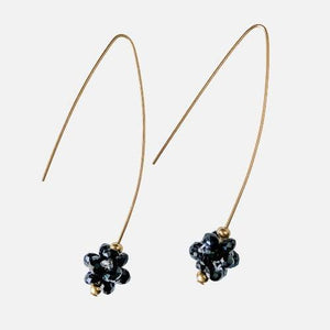 Black Drop Earrings with Long Hook Ear Wire Uni-T Earrings
