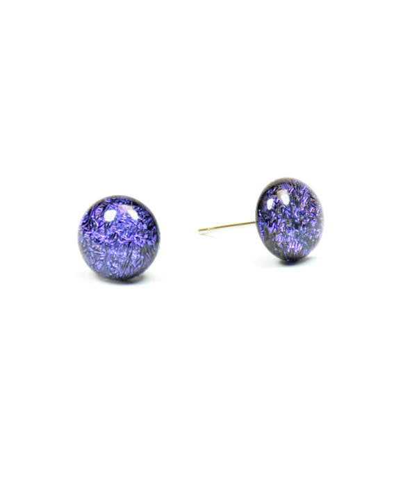 Violet Dichroic Glass Stud Earring / One of a kind glass earring - Uni-T