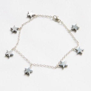 Star Bracelet - Silver Plated on Hematite Stars with Sterling Silver Chain