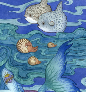 The Gift, Mermaid art print ocean sealife illustration Uni-T