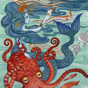 Mermaid Octopus Archival Art Print 8X10, OFFERING Uni-T