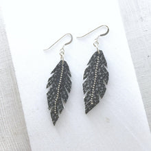 Hand Cut Black & Grey Leather Feather Earrings Uni-T