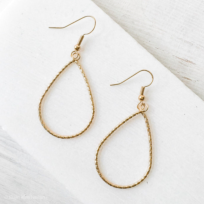 Gold plated Teardrops Dangle Earrings Uni-T