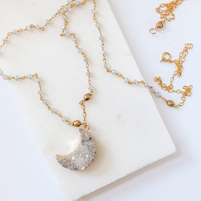 Druzy Quartz Natural Moon, Gray Jade and Brass with 14K Gold Filled Necklace