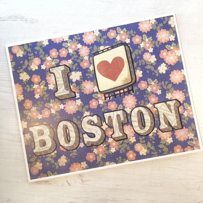 I Heart Boston - Cut Paper Print - Boston Print Uni-T