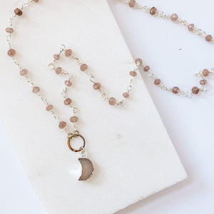 Druzy Quartz Mini Moon and Chocolate Moonstone with Sterling Silver Circlet Necklace