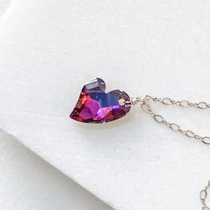 Crystal Heart Sterling Silver Necklace