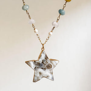 Large Druzy Quartz Star, Apatite, Sunstone and Quartz with 14K Gold Filled Necklace
