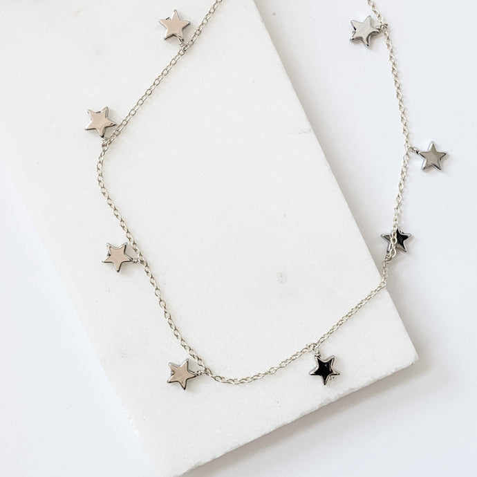 Silver Star Necklace - Silver Plated on Hematite Stars with Sterling Silver Chain