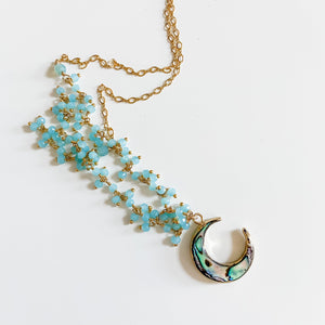 Abalone Moon and Aqua Chalcedony with 14K Gold Filled Necklace