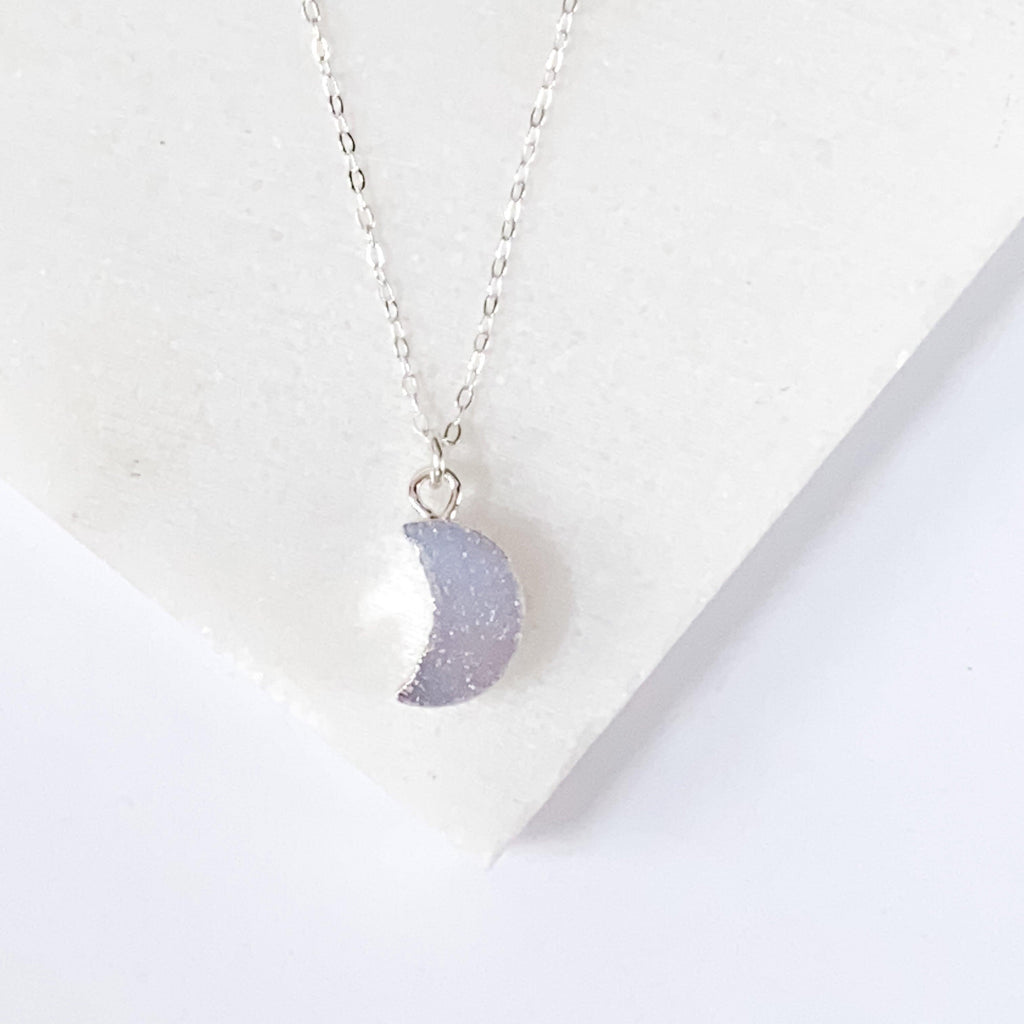 Druzy Quartz Mini Moon Pendant Necklace on Sterling Silver Chain