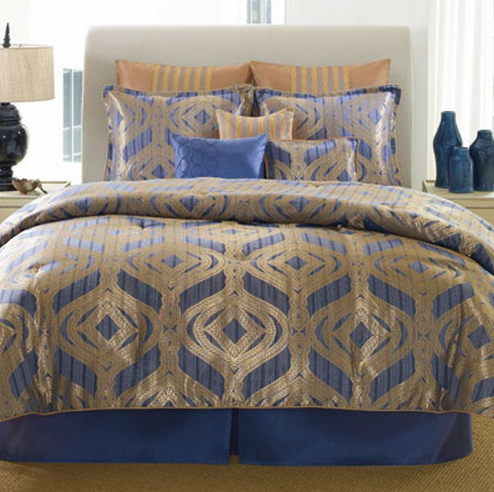 Patti LaBelle Bedding, Temptation Blue and Gold 9 Piece King