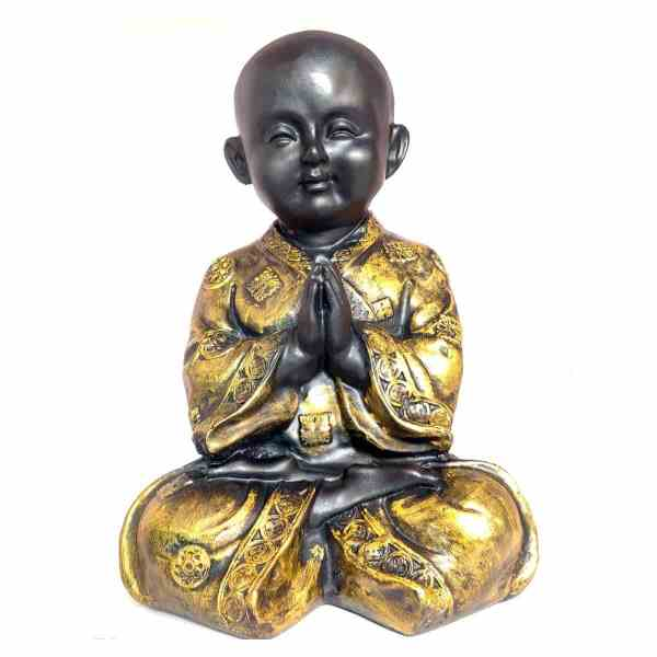 Monk Buddha POLYRESIN Statue for Home DÉCOR and SHOWPIECE (Gold and Black) Statue Showpiece Home Decor - Decorstore.in