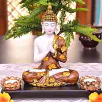 Polyresin Divine Meditating Buddha Idol (20X11X20 cm) with Wooden Tray for Home Decoration - Decorstore.in
