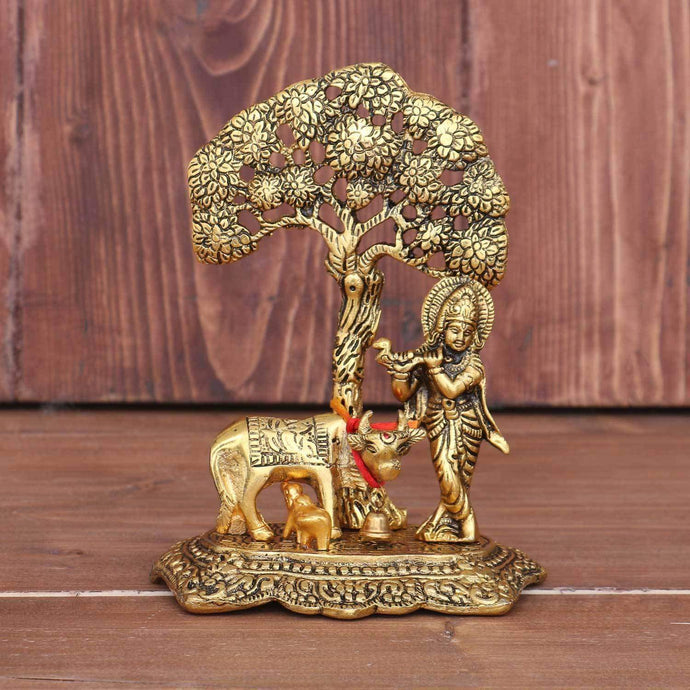 Metal Krishna with Cow Standing Under Tree Plying Flute (Gold, 12x8x17cm) - Decorstore.in