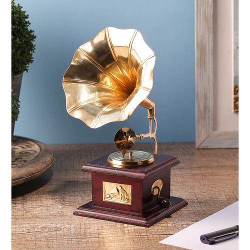 Handmade Vintage Dummy Gramophone Showpiece For Home Decor - Decorstore.in