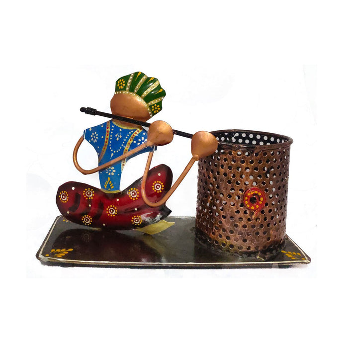 Classic Iron Pen Holder with man playing Flute - Decorstore.in