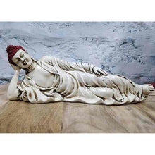 Load image into Gallery viewer, Sleeping Buddha Statue for Home Decor and Gifting with Antique Finish (Ivory Red) - Decorstore.in