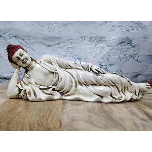 Sleeping Buddha Statue for Home Decor and Gifting with Antique Finish (Ivory Red) - Decorstore.in