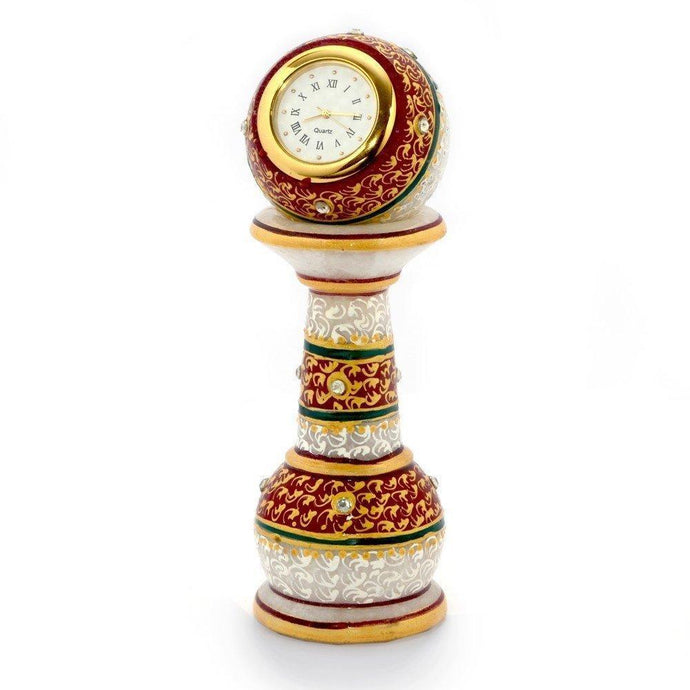 Gold Painted Meenakari Work Marble Pillar Watch, 6-inch (Multicolour) - Decorstore.in