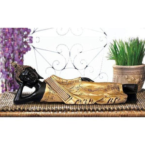 Fiber Sleeping Buddha Statue (BLACKGOLD) - Decorstore.in