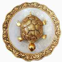 Feng Shui Tortoise at Glass Plate for Good Luck Vastu Turtle (Size 14x14x3 cm, Golden) - Decorstore.in