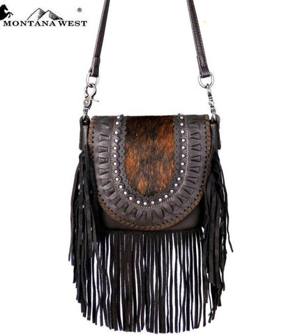 Montana West Real Leather Collection Crossbody Hair-on Handbag