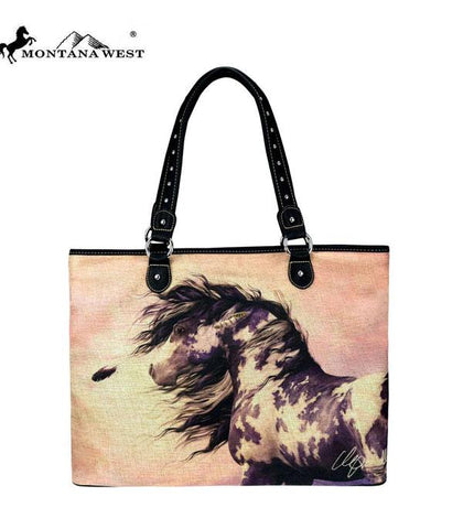 Painted Horse Montana West Canvas Tote Bag-Laurie Prindle Collection