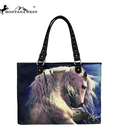Ghost Horse, Montana West Canvas Tote Bag-Laurie Prindle Collection