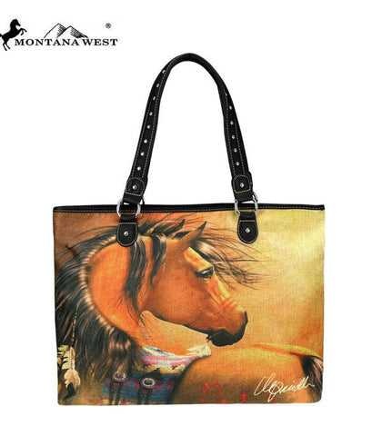 Golden Stallion, Montana West Canvas Tote Bag-Laurie Prindle Collection