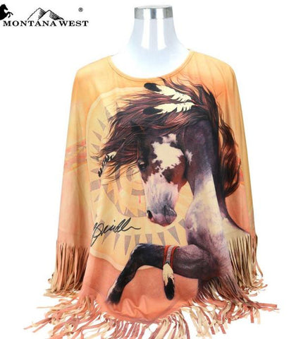 Montana West Horse Art-Laurie Prindle Collection Poncho