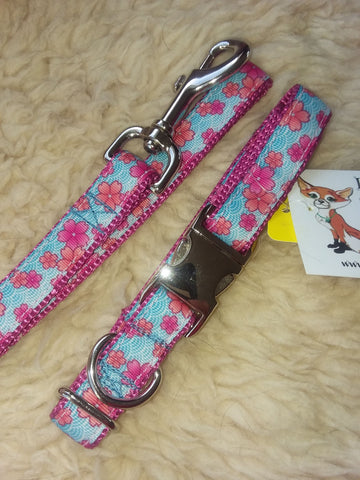 Pink Posey Custom Buckle Collar and Lead Set