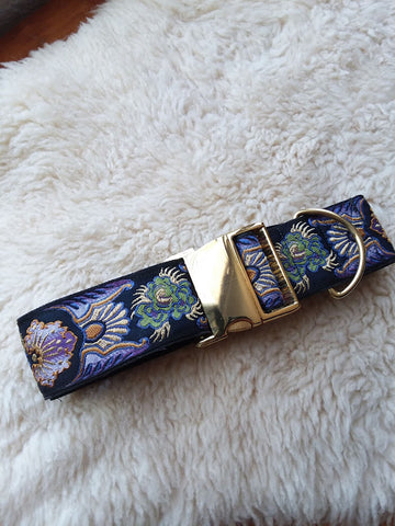 "Beautiful Imported Brocade 2"" Buckle Collar with Golden Hardware"