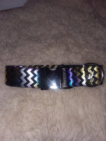 "Multicolored Holographic 1.5"" Ribbon Buckle Collar"