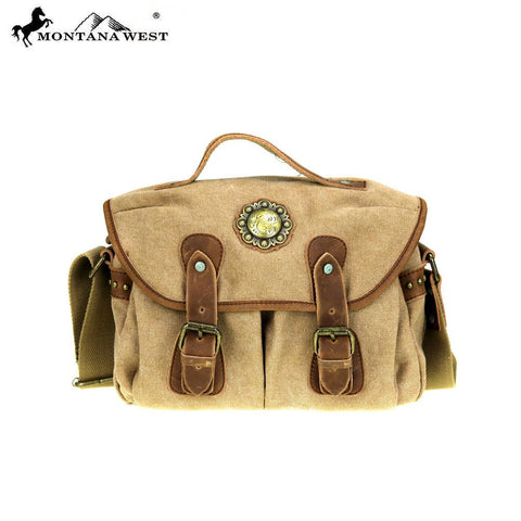 Montana West Genuine Leather Washed Canvas Travel Bag Collection Shoulder/Crossbody handbag.