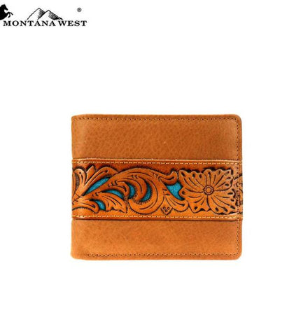 Montana West Leather Tooled Mens Wallet