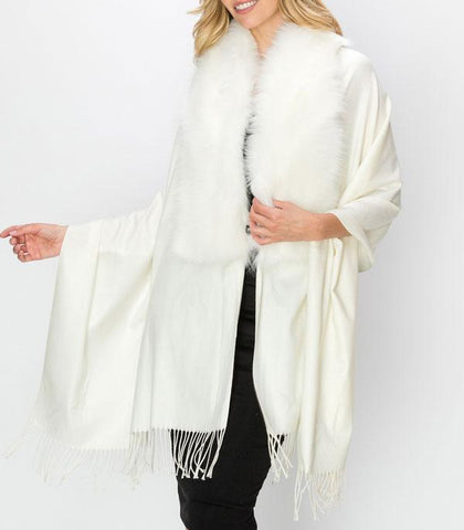 Beautiful Faux Fur Trim Cape Poncho
