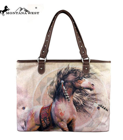 Feathered Paint, Montana West Canvas Tote Bag-Laurie Prindle Collection