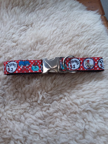 "Darling Dr. Seuss Thing 1 Thing 2 1"" Buckle Collar"