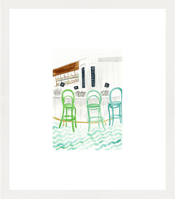 Interior bar watercolor illustration with green barstools, tile floor, and oysters in white frame