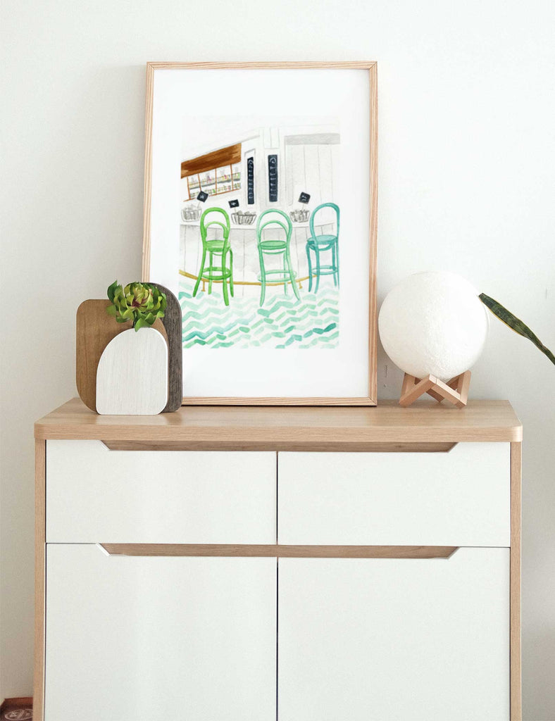 Interior bar watercolor illustration with green barstools, tile floor, and oysters in large size on dresser