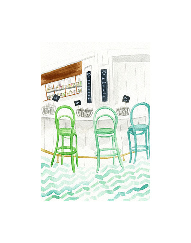 Interior bar watercolor illustration with green barstools, tile floor, and oysters