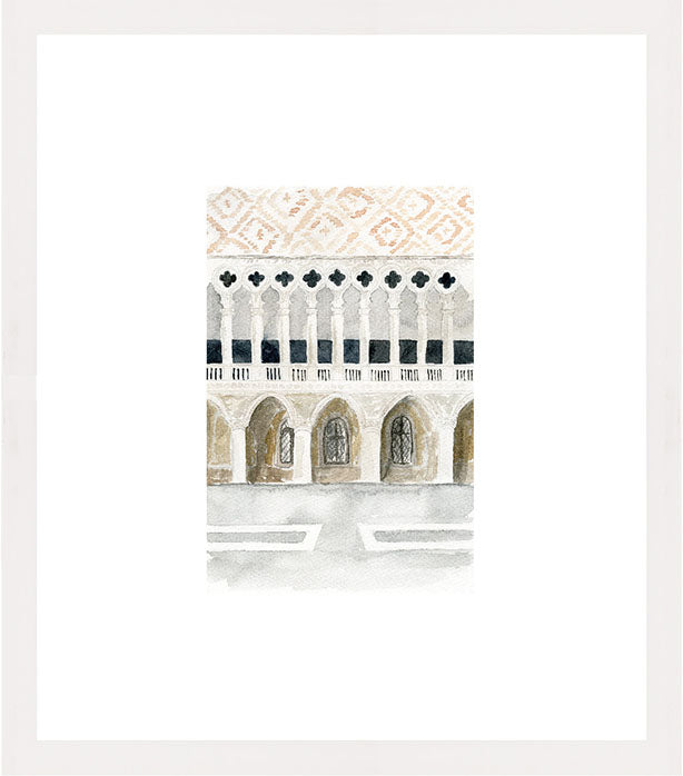 watercolor illustration of doge's palace art print in white frame
